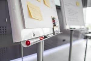 paper board de réunion, marqueurs, post it