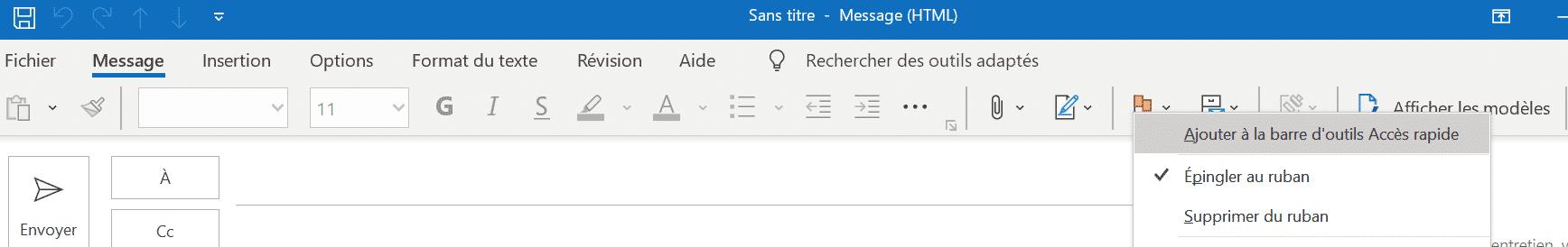 Barre d'outils accès rapide Outlook Office