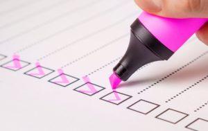checklist des points à améliorer