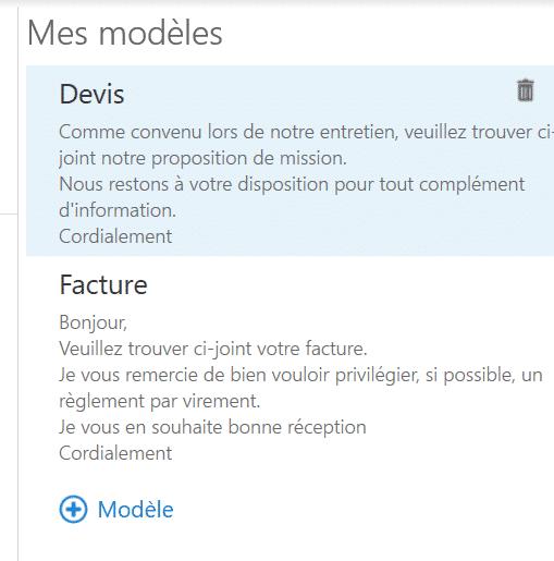 Mes modèles dans Outlook Office