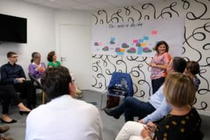 Animation atelier collectif avec mur de post it
