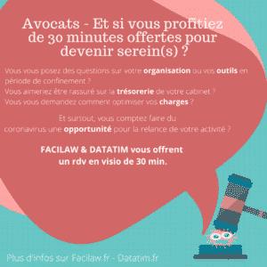 Offre solidarité covid Datatim et Facilaw 30 minutes pour les avocats