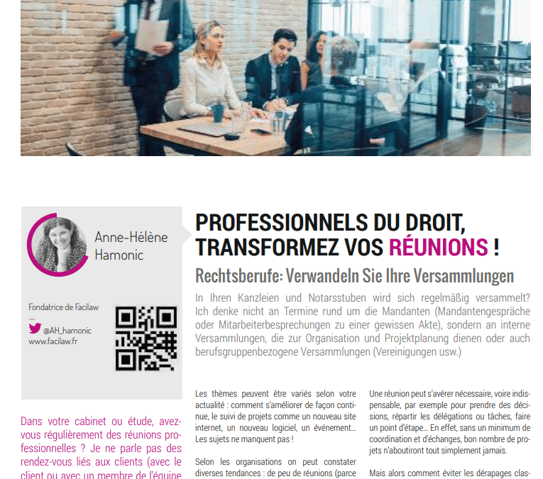 Article Managing Lawyer : professionnels du droit, transformez vos réunions !