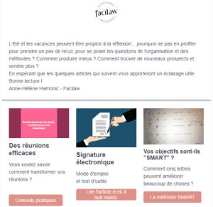 Découvrez la newsletter performance des avocats par Facilaw