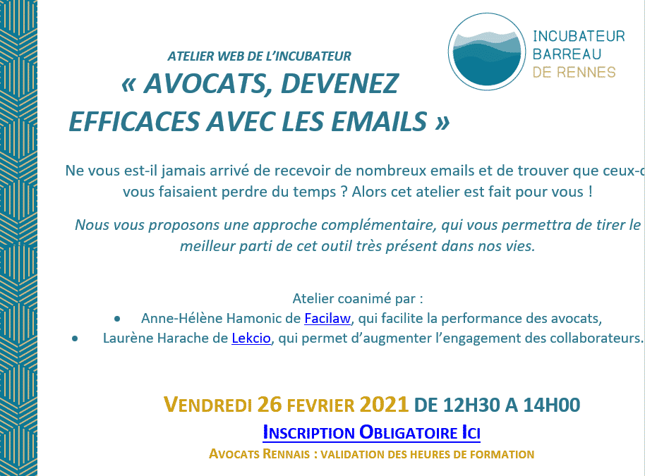 Atelier webinaire : Avocats devenez efficaces avec les emails